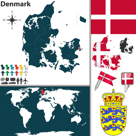denmark flag: Vector map of Denmark with regions, coat of arms and location on world map