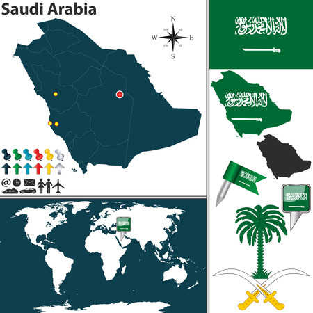 saudi arabia: Vector map of Saudi Arabia with regions, coat of arms and location on world map