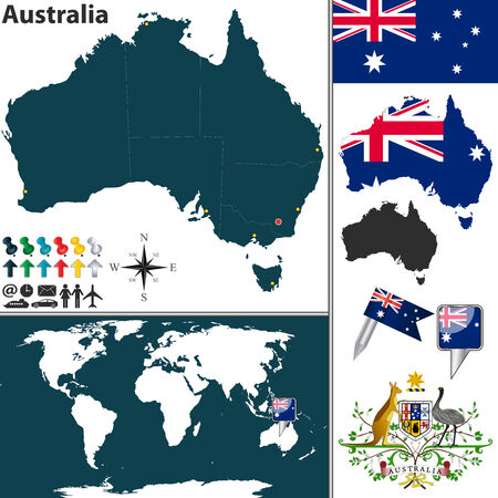 canberra: Vector of Australia set with detailed country shape with region borders, flags and icons Illustration