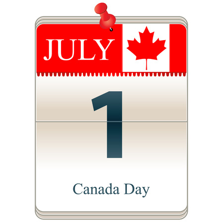 Vector of the date white block calendar Canada Day, July 1st Illustration
