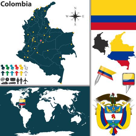 bandera de colombia: Vector mapa de Colombia con las regiones, escudo de armas y la ubicación en el mapa mundial