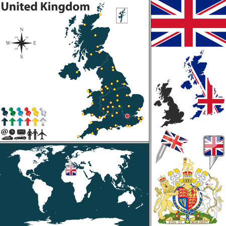 Map of kosovo with regions coat of arms and location on world 25249353 vector map of united kingdom with regions coat of arms and location on world map gumiabroncs Image collections