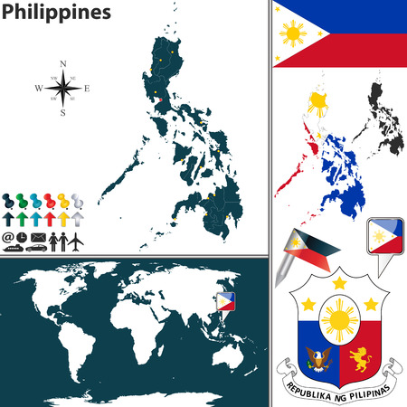 filipino: Vector map of Philippines with regions, coat of arms and location on world map Illustration