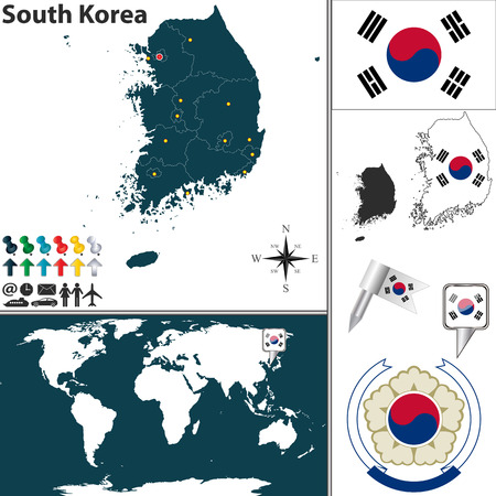 korea map: Vector map of South Korea with regions, coat of arms and location on world map