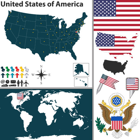 Vector map of United States of America with regions, coat of arms and location on world map Vector