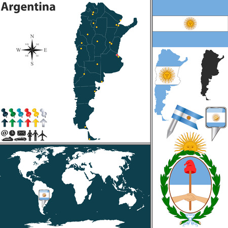 Vector map of Argentina with regions, coat of arms and location on world map Vector