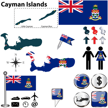 cayman islands: Vector of Cayman Islands set with detailed country shape with region borders, flags and icons Illustration