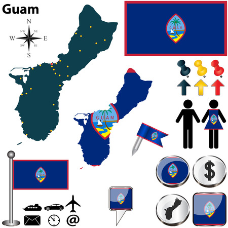 guam: Guam set with detailed country shape with region borders, flags and icons