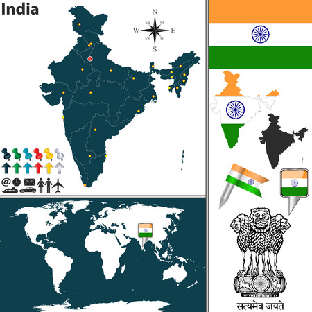 new delhi: map of India with regions, coat of arms and location on world map