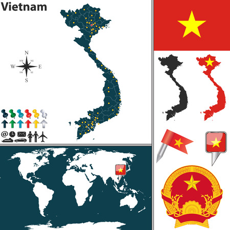 map of Vietnam with regions, coat of arms and location on world map Vector
