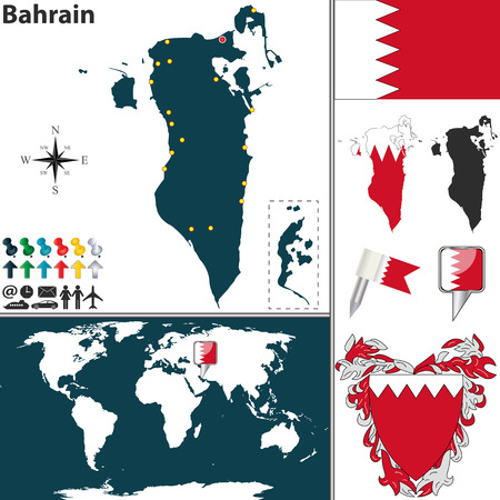 bahrain: Vector map of Bahrain with regions, coat of arms and location on world map