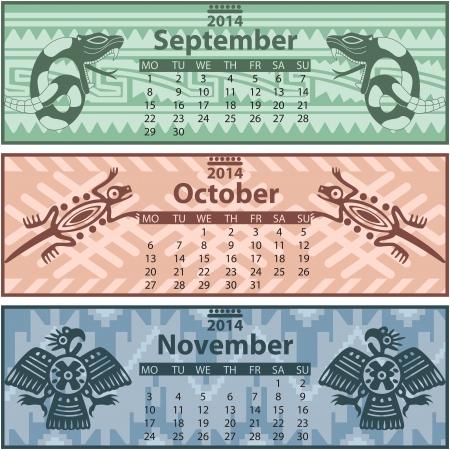 toltec: Vector of Autumn calendar 2014 with mayan ornaments