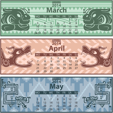 mesoamerican: Vector of spring calendar 2014 with mayan ornaments