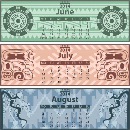 Vector of Summer calendar 2014 with mayan ornaments