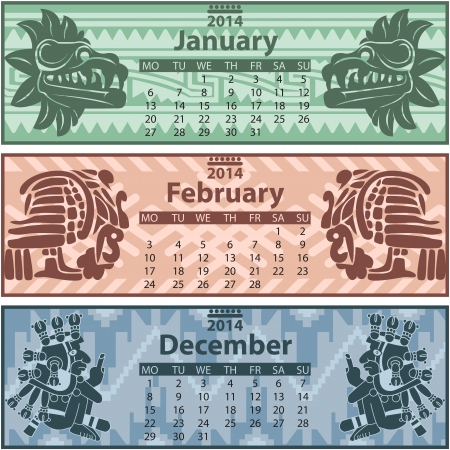 mesoamerican: winter calendar 2014 with mayan ornaments