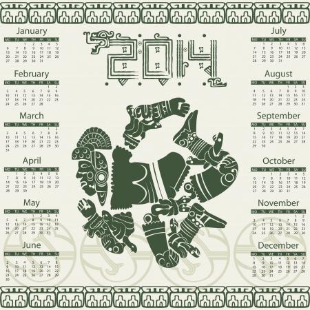 toltec: Vector calendar 2014 in mayan style