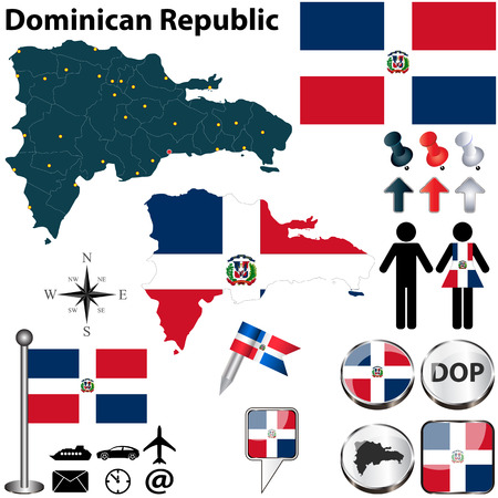 dominican republic: Vector of Dominican Republic set with detailed country shape with region borders, flags and icons
