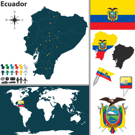ecuador: map of Ecuador with regions, coat of arms and location on world map