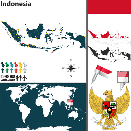 Map of indonesia with named regions and travel icons royalty free map of indonesia with regions coat of arms and location on world map vector gumiabroncs Gallery