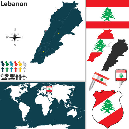 map of Lebanon with regions, coat of arms and location on world map Vector