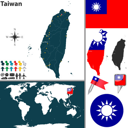 taiwanese: map of Taiwan with regions, coat of arms and location on world map