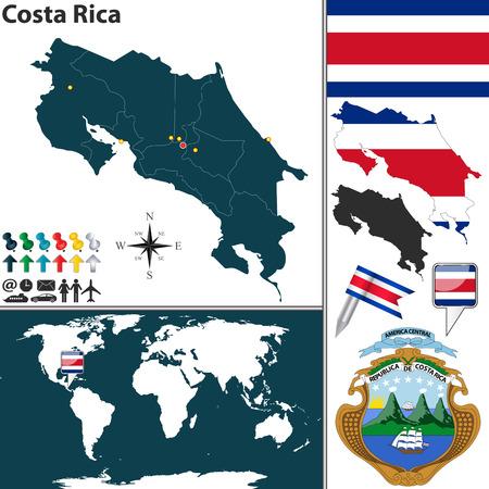 bandera de costa rica: mapa de Costa Rica con las regiones, escudo de armas y la ubicación en el mapa mundial