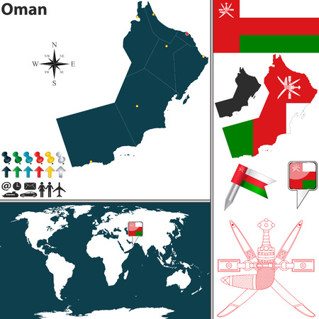 Vector Of Oman Set With Detailed Country Shape With Region Borders