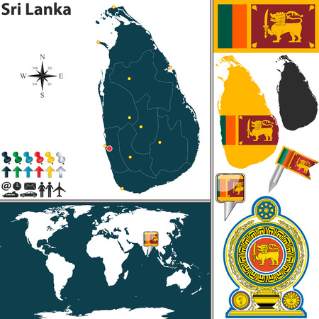 sri: map of Sri Lanka with regions, coat of arms and location on world map