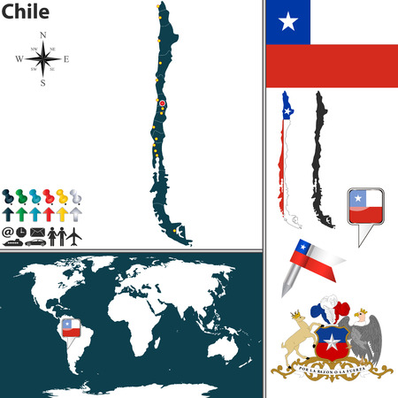 chile flag: map of Chile with regions, coat of arms and location on world map