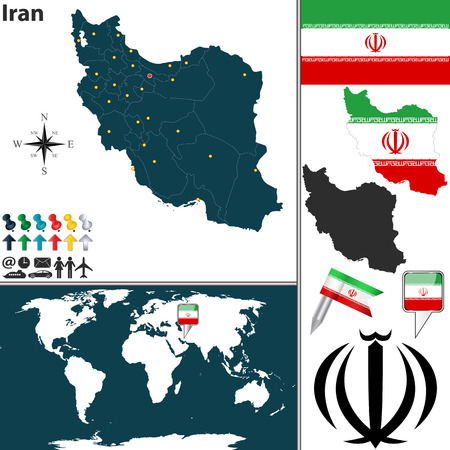 world location: map of Iran with regions, coat of arms and location on world map Illustration