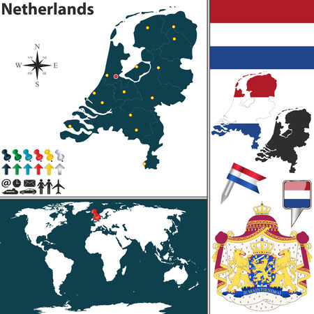 map of Netherlands with regions, coat of arms and location on world map Vector
