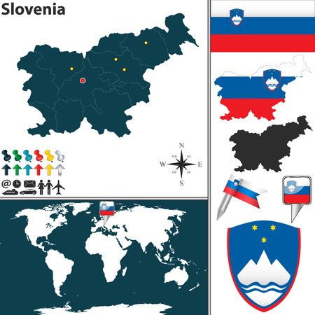 map of Slovenia with regions, coat of arms and location on world map
