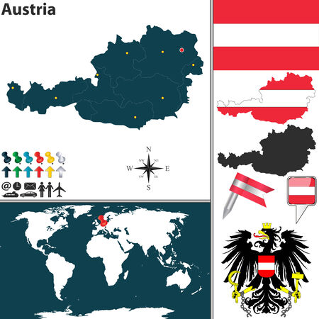 austrian flag: map of Austria with regions, coat of arms and location on world map