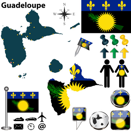 guadeloupe: Guadeloupe set with detailed country shape with region borders, flags and icons Illustration