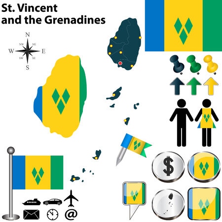 grenadines: St Vincent and the Grenadines set with detailed country shape with region borders, flags and icons