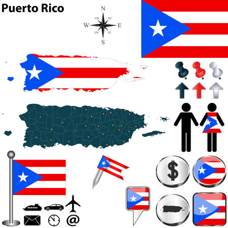 puerto rican flag: Puerto Rico set with detailed country shape with region borders, flags and icons