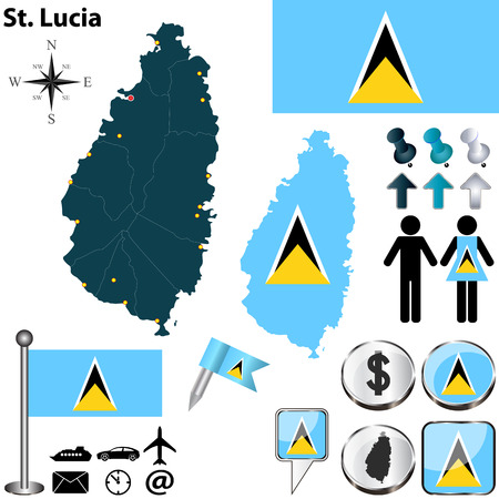 st lucia: St Lucia set with detailed country shape with region borders, flags and icons
