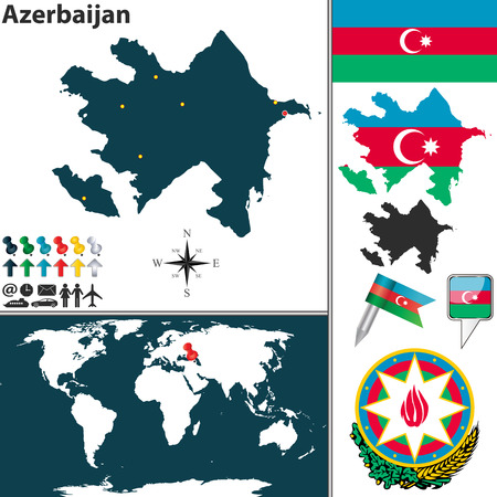 azerbaijani: map of Azerbaijan with regions, coat of arms and location on world map