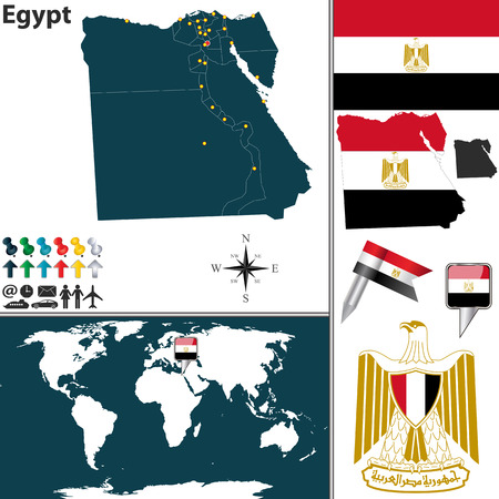 egypt flag: Egypt with regions, coat of arms and location on world map