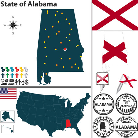 birmingham: Alabama state with flag and icons on white  Illustration