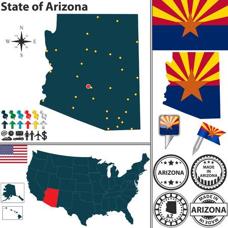 arizona: Arizona state with flag and icons on white