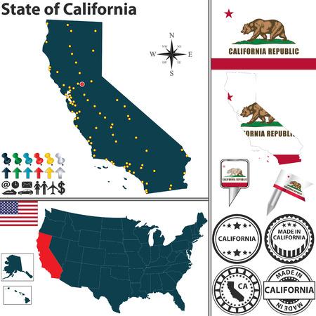 California state with flag and icons on white  Ilustração