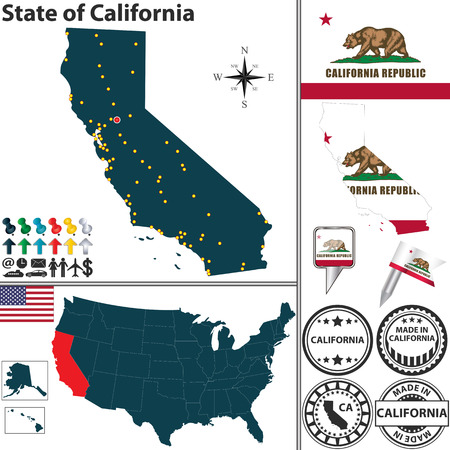 ca: California state with flag and icons on white  Illustration