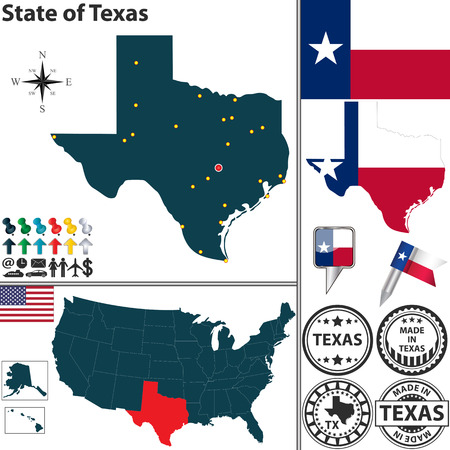 austin: Texas state with flag, coat of arms and icons on white