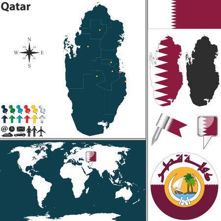 doha: map of Qatar with regions, coat of arms and location on world map