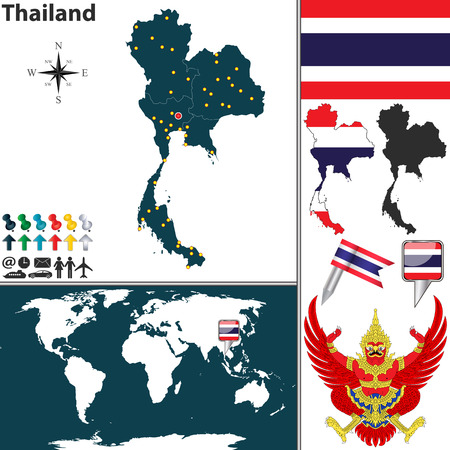 map of Thailand with regions, coat of arms and location on world map Illustration