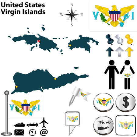 charlotte: United States Virgin Islands set with detailed country shape with region borders, flags and icons Illustration
