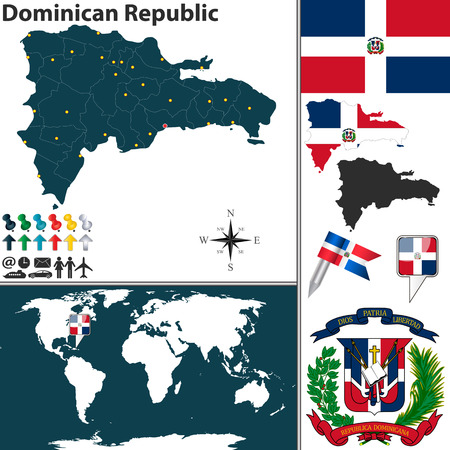 Vector map of Dominican Republic with regions, coat of arms and location on world map Vector