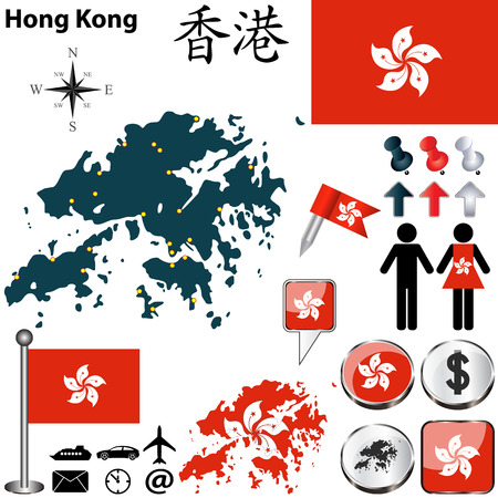 hong kong: Vector of Hong Kong set with detailed country shape with region borders, flags and icons