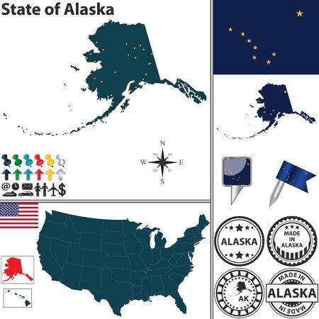 alaskabo: Vektor uppsättning Alaska stat med flagga och ikoner på vit